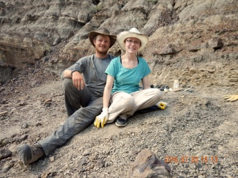 My partner and I excavating a Champsosaur near Morrin, Alberta