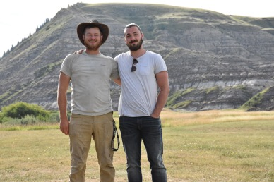 My brother and I in the field near Drumheller