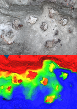 A heatmap of our 3D reconstruction shows off the footprints really well
